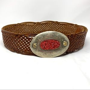 Chicos leather belt w/ Big Oval Silver Buckle M/L